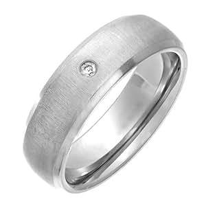 Theia Unisex-Ring Titan Court Diamant 0.02ct Matt 5mm - Gr. 47 (15.0) TH2626