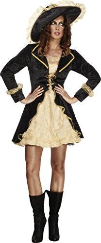 Fever, Damen Säbelrassler Kostüm, Kleid mit angebrachter Jacke und Hut, Größe: S, - Kostüm Kleid Schwarz Last Minute