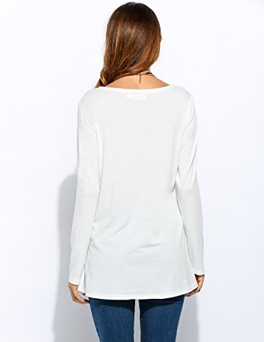 CRAVOG Damen Bluse Weiß