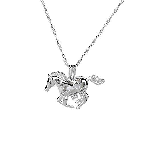 (Scrox Personalisierte Kette Hohle Pferd Anhänger Halskette mit Leuchtenden Perlen Halskette Kreatives Schmuck Geschenk für Paarfreundefamilien, Legierung, Dunkelgrün Licht)