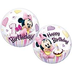 22 globos de burbujas Minnie Mouse de 1er cumpleaños