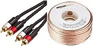 Amazon Basics Câble audio pour haut-parleur Calibre 16 Section 1,3 mm² Longueur 30,48 m & Câble audio RCA