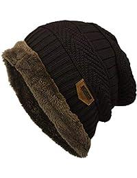 760d75cd71f JIANGfu Men Women Fleece Contrast Colors Knitted Hat Unisex Casual Warm  Winter Hats Stretchy Caps (