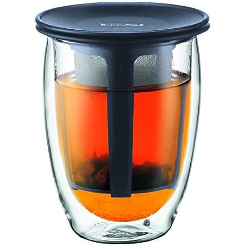 Bodum Tea For One - Tetera individual, 0,35 l, vaso térmico de borosilicato, filtro y tapa de plástico, color negro