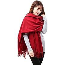Butterme Delle donne delle signore Grande morbido plaid di lusso solido Pashmina cashmere dello scialle Sciarpa (Vino rosso)