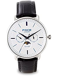 FOCE Analogue Silver Dial Men's Dome Glass Moonphase Watch - [FC12SSL-SILVER/B]