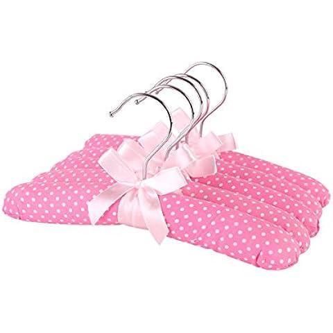 Panno Neoviva grucce per bambini, imbottitura in spugna morbida, confezione da 5, Tessuto, Polka Dot Pink, 26(L) CM for Baby - Legno Bambino Hanger