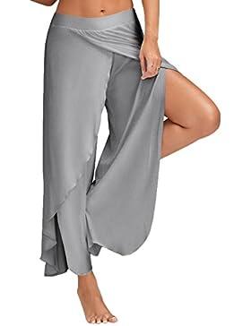 Minetom Mujer Casual Color Sólido Delgado De Pantalones De Pierna Ancha Cintura Elástica Holgados Flojos Yoga...