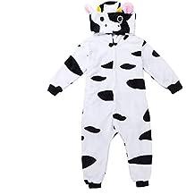 7e8a458cb dPois Pijama Vaca Cow de Forro Polar Franela Niña Niño Mono Animal Unisex  con Capucha Cálido