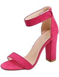 84514a2811a PAOLIAN Zapatos de Tacón Ancho Altas para Mujer Verano 2018 Moda Clásicos  Terciopelo Sólido Talla Grande