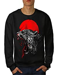 163cb5bf6d7f2f wellcoda Panthère Soleil Rouge Animal Homme S-7XL Sweat-Shirt