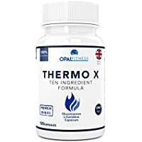 Thermo X Fat Burner Capsules | Glucomannan (Konjac Fibre), L-Carnitine, L-Tyrosine, Green Coffee Bean, African Mango, Chromium | Ten Ingredient Formulation | 100% Safe & GMP Certified | OPAL Fitness
