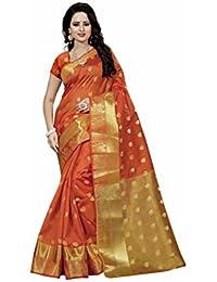 Wedding Villa Women's Poly Cotton Saree With Blouse Piece (DevyaniOrange_Orange_Colour)
