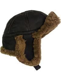 UNICORN Réal Peau de mouton Cuir unisexe fourrure hiver chapeau aviateur bouchon trappeur earflap Brun/Brun fourrure #4H