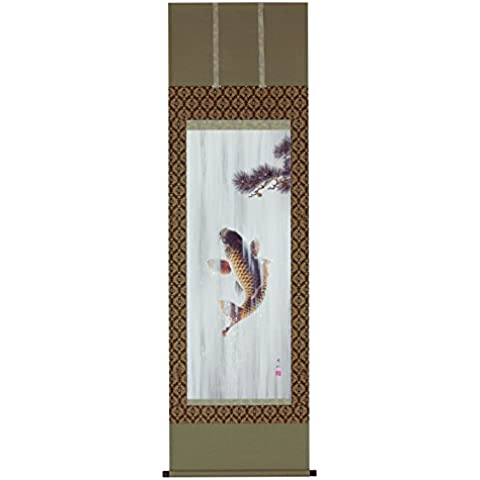 Tokyo Art Gallery ISHIHARA - Kakejiku (Japanese Hanging Scroll) : Koi (Carp) Climbing the Waterfall - Japan Imported [Standard ship by EMS (Expedited) : with Tracking & Insurance]