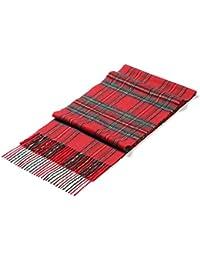 i+k Sciarpa Donna Uomo Lana Merinos 100% - Ultra leggera & elegante sciarpa di lana - Sciarpa classica in lana con motivo tartan - Gift Box