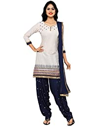 KVSFAB Women's Cotton Patial Salwar Suit,off White&Blue[KVSSK4356-A_KAR]