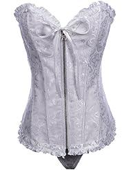 Topwedding brocart blanc fermeture à glissière avant de corset