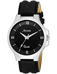 Arum Black Round Day And Date Dial Black Leather Strap Analog Watch For Men's And Boy's