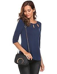 505a999f5e83 Meaneor Damen Shirt 3 4 Arm Bluse Modal Obereteil Loch T-Shirt Silm Fit Uni  Top Tunkia…