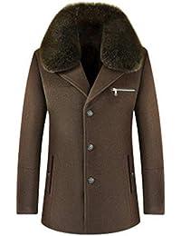 Giacche da Uomo Trench Coat Colletto Monopetto Staccabile Giacca a Vento  Lungo in Lana 7485cad996b