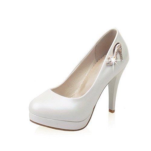AllhqFashion Damen Weiches Material Rund Schließen Zehe Hoher Absatz Ziehen Auf Pumps Schuhe Weiß