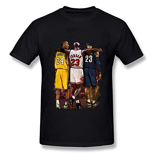 Men's Kobe Bryant Michael Jordan LeBron James Three Stars T-shirt Black