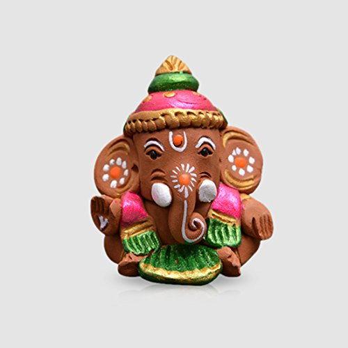 ExclusiveLane Terracotta Handpainted Baby Car Ganesha - Home Decorative items in living room Showpieces Ganesha Idols  available at amazon for Rs.475