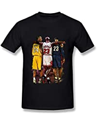 Juanros Tong Mens Kobe Bryant Michael Jordan Lebron James Three Stars T-Shirt Black