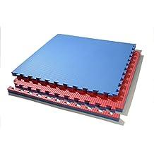 suelo tatami puzzle grosor 2 c m. plancha de 1 m x 1 m. borde liso (desmontable) (rojo/azul)