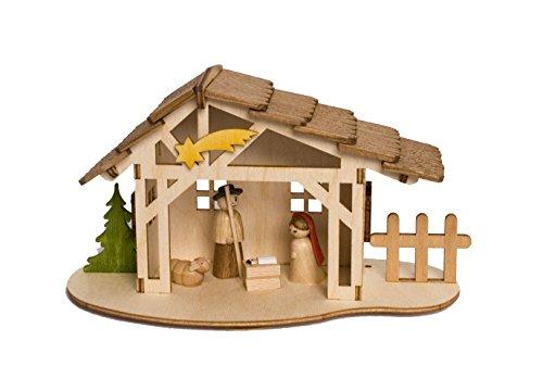 - Hobaku Bastelset - Krippenstall mit heilliger Familie - aus Holz zum Zusammenbauen - Made in Germany ()