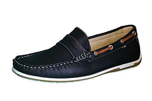 Elifano Footwear Herren Mokassin Bootsschuhe Wildleder Müßiggänger Schuhe Flache Hausschuhe (42 EU, Black)
