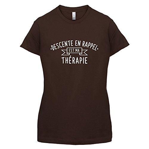 La descente en rappel est ma thérapie - Femme T-Shirt - 14 couleur Marron Foncé