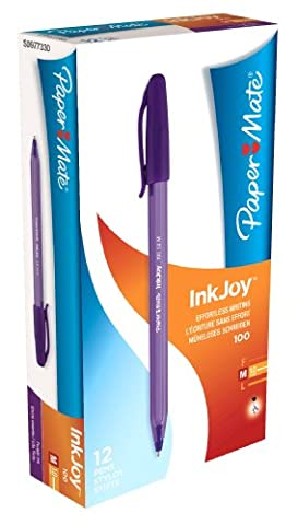 PaperMate InkJoy 100 ST Ball Pen with 1.0 mm Medium Tip - Purple, Pack of 12