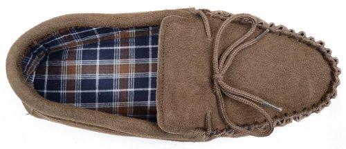 SNUGRUGS Homme Doublé en coton pantoufles Mocassin en Daim avec semelle en caoutchouc Taupe