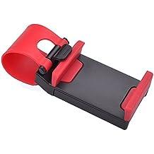 Soporte de telefono - SODIAL(R) Enchufe Hebilla Clip Montura de soporte de telefono celular Manos libres en el volante del coche - Rojo + Negro