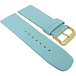 Graf Manufaktur Spree Replacement Watch Strap Leather Band Women's light blue 27101G; Bridge Width: 22 mm