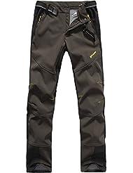 FLYGAGA Homme Pantalon Softshell Doublé polaire Coupe-vent Imperméable Outdoor Sport Camping Randonnée Trekking Pantalon