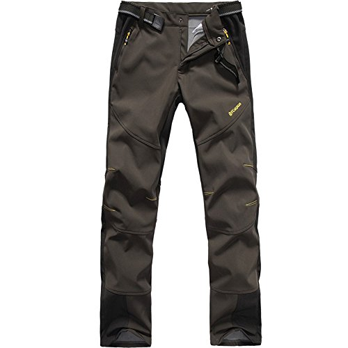 FLYGAGA Homme Pantalon Softshell Doublé polaire Coupe-vent Imperméable Outdoor Sport Camping Randonnée Trekking Pantalon (Large, Coffee)