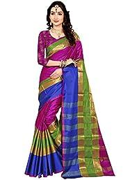 Saree Mall Women'S Cotton Silk Saree With Blouse Piece (Pink & Blue_5Aura5005_Free Size)