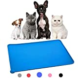 Himi Silicone Pet Food Mat 19'x12' - FDA Silicone Waterproof Dog bowl mat, Non Slip Dog bowl Pet Food Mat Placemet Tray - Pet Bowl Feeding Mat - Small and large dog food mat - Pet Bowl Tray(Blue)