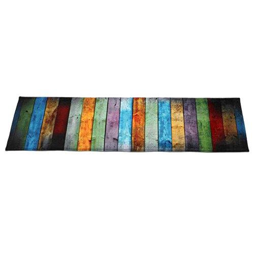 Wawer Mehrfarbig Holzbrett Muster Fußmatten | Willkommen Eingangsmatte | Indoor Haustürmatte | Bodenmatten für Esszimmer Schlafzimmer | Rutschfeste Teppich | Rechteckige Tür-Matte (60x180CM) - Rechteckige Mehrfarbige Teppiche