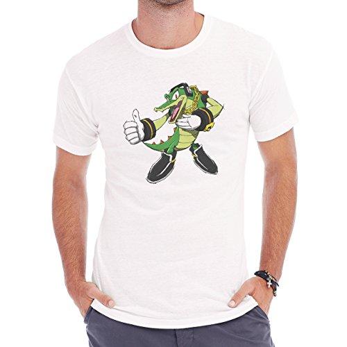 Crocodile Green Reptile Dino Like Cartoon Herren T-Shirt Weiß