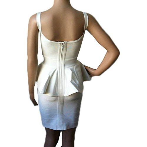 HLBandage Women Peplum Spaghetti Strap Mini Bandage Dress Bianco