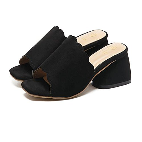 ZYUSHIZ Frauen Schuhe Wild Open Toe Rauh mit High-Heel, Sandalen Hausschuhe Schwarz