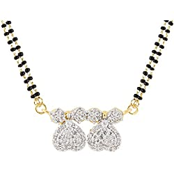 Archi Collection Gold & Rhodium Plated Jewellery American Diamond Mangalsutra Pendant with Chain for Women