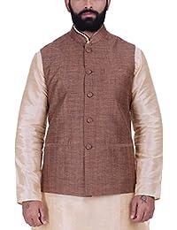 Kisah Orangish Brown Khadi Jaquard Men's Waistcoat