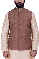 Kisah Khadi Jaquard Orangish Brown Mens Nehru Jacket