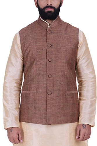 Kisah Khadi Jaquard Orangish Brown Men's Nehru Jacket