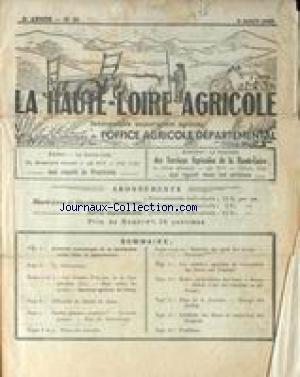 HAUTE LOIRE AGRICOLE (LA) [No 31] du 03/08/1935 - L'INTERET ECONOMIQUE DE LA PRODUCTION OVINE DANS LE DEPARTEMENT - LE DECHAUMAGE - LA COOPERATION- SEMAINE AGRICOLE DU VELAY - LE NITRATE - LES POMMES - MALADIES DES PIEDS DES BOVINS - LES MOTEURS AGRICOLES - LES BAUX DE FERME - ELEVAGE DES POULETS.